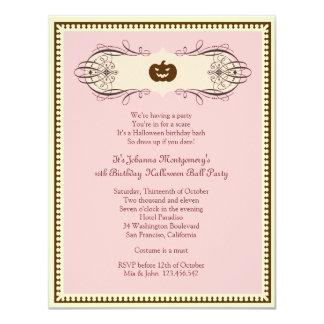 """Fiesta del traje de la bola del dulce 16 Halloween Invitación 4.25"""" X 5.5"""""""
