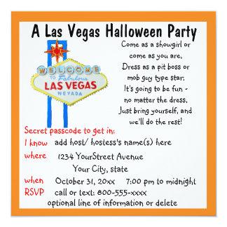 """Fiesta del traje de Las Vegas Halloween Invitación 5.25"""" X 5.25"""""""