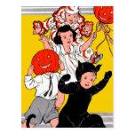 Fiesta del traje de los niños retros del vintage d tarjetas postales