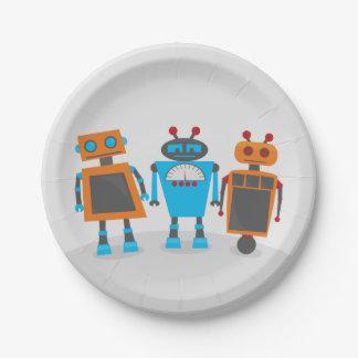 Fiesta del trío del robot plato de papel de 7 pulgadas
