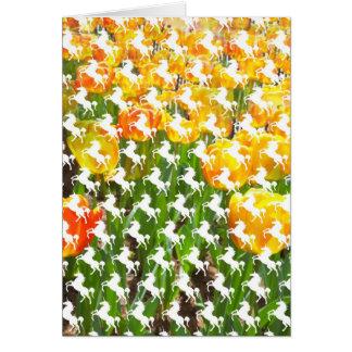 Fiesta del tulipán del unicornio tarjeta de felicitación