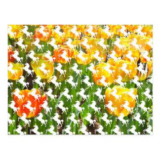 Fiesta del tulipán del unicornio tarjeta postal