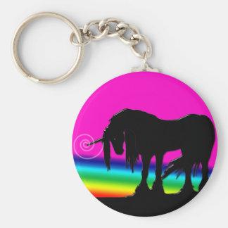 Fiesta del unicornio del arco iris llavero redondo tipo pin