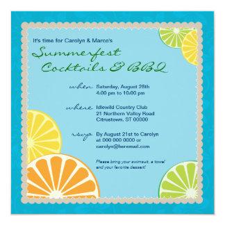 Fiesta del verano de la fruta cítrica invitacion personal