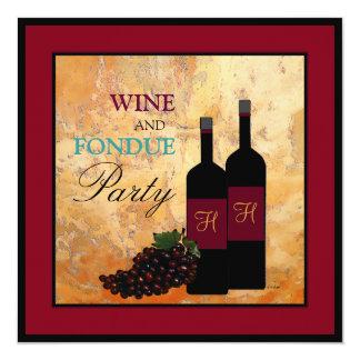 """Fiesta del vino y de la """"fondue"""" invitación 5.25"""" x 5.25"""""""