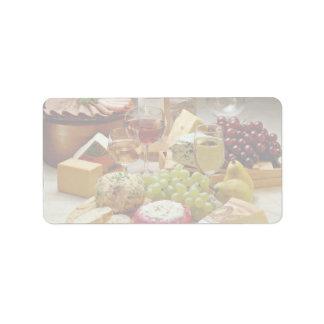 Fiesta del vino y del queso etiquetas de dirección