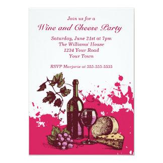 Fiesta del vino y del queso invitación 12,7 x 17,8 cm