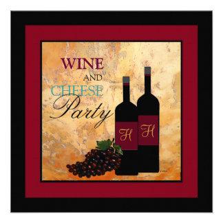 Fiesta del vino y del queso invitación personalizada