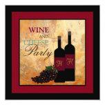 Fiesta del vino y del queso invitación 13,3 cm x 13,3cm