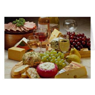 Fiesta del vino y del queso tarjeta de felicitación