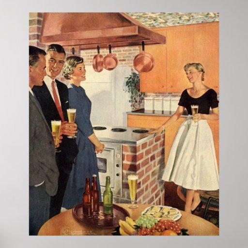 Fiesta del vintage en la cocina, la cerveza y los  impresiones