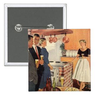 Fiesta del vintage en la cocina, la cerveza y los pin cuadrada 5 cm