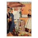 Fiesta del vintage en la cocina, la cerveza y los  tarjeton