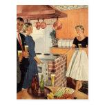 Fiesta del vintage en la cocina, la cerveza y los  tarjetas postales