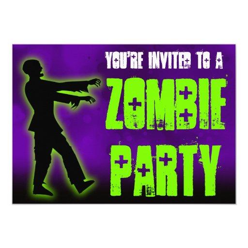 """Fiesta del zombi, caminante verde invitación 5"""" x 7"""""""