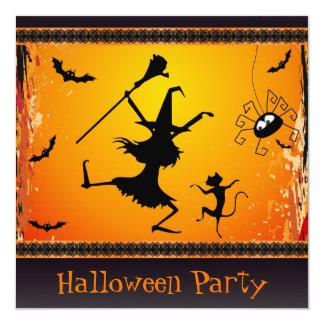 """Fiesta divertido de Halloween de la bruja y del Invitación 5.25"""" X 5.25"""""""