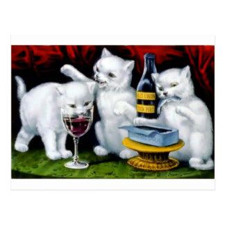 Fiesta divertido del gato del vintage con el vino tarjetas postales