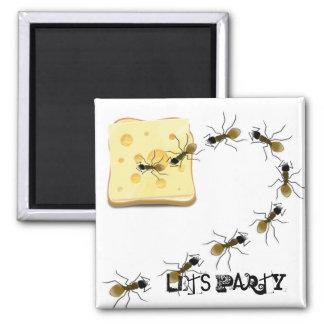 Fiesta divertido del rastro de la hormiga lindo imán cuadrado