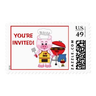 Fiesta divertido lindo del Bbq del cerdo del Timbres Postales
