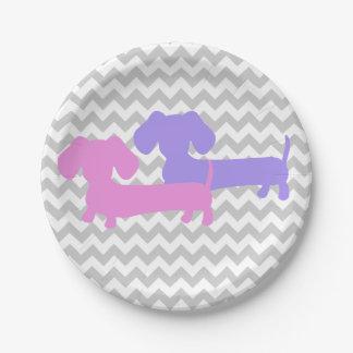 Fiesta doble del perro de la salchicha de plato de papel de 7 pulgadas