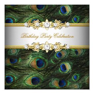 """Fiesta elegante blanco del oro azulverde del pavo invitación 5.25"""" x 5.25"""""""