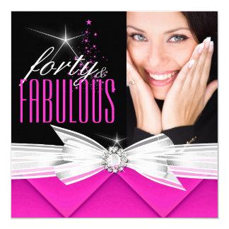 """Fiesta elegante blanco negro rosado fabuloso 3 de invitación 5.25"""" x 5.25"""""""
