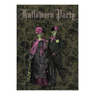 Fiesta elegante de Halloween de los esqueletos y Invitación 11,4 X 15,8 Cm