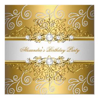 """Fiesta elegante de la capa del diamante del cordón invitación 5.25"""" x 5.25"""""""