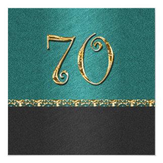 Fiesta elegante de la edad del negro azul 70.o invitación 13,3 cm x 13,3cm