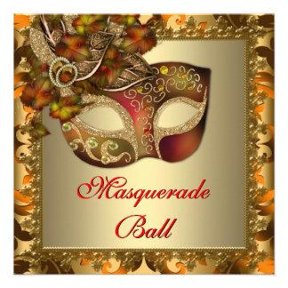 Fiesta elegante de la mascarada del rojo anaranjad