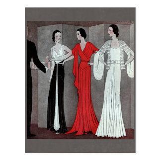 Fiesta elegante del vintage del art déco tarjetas postales