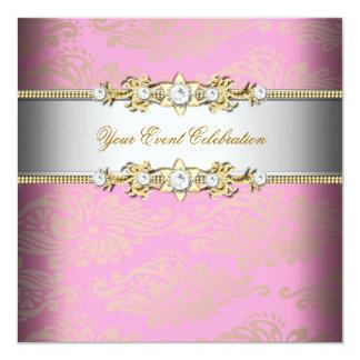 """Fiesta elegante grabado en relieve crema rosada de invitación 5.25"""" x 5.25"""""""