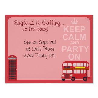 """Fiesta elegante lindo de Londres Invitación 4.25"""" X 5.5"""""""