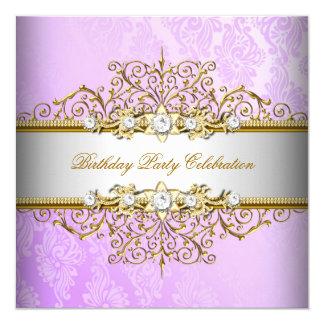 """Fiesta elegante púrpura del oro blanco de la lila invitación 5.25"""" x 5.25"""""""