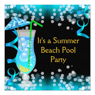 """Fiesta en la piscina azul de la playa del cóctel invitación 5.25"""" x 5.25"""""""