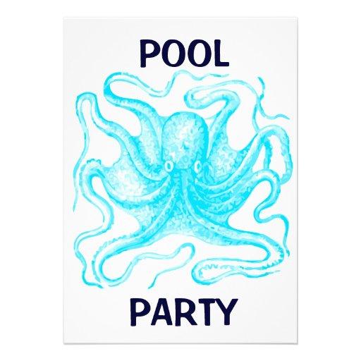 Fiesta en la piscina azul del pulpo
