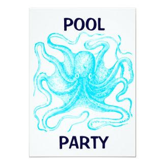 Fiesta en la piscina azul del pulpo invitación 12,7 x 17,8 cm