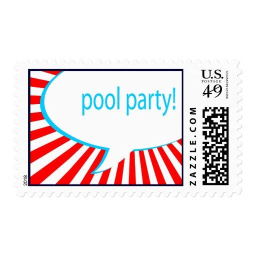 ¡fiesta en la piscina! burbuja cómica del discurso sello