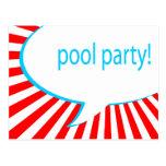 ¡fiesta en la piscina! burbuja cómica del discurso postales