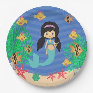 Fiesta en la piscina de la sirena plato de papel 22,86 cm
