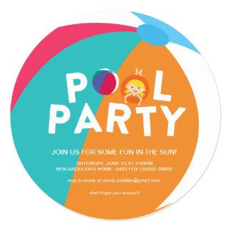 """Fiesta en la piscina del verano invitación 5.25"""" x 5.25"""""""