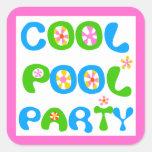 Fiesta en la piscina fresca colcomania cuadrada