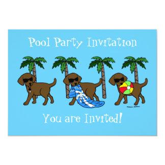 Fiesta en la piscina fresca de Labradors del Invitación 12,7 X 17,8 Cm