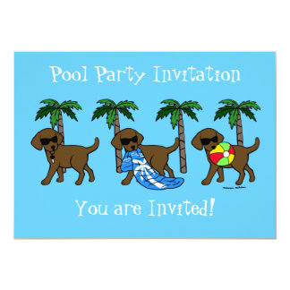 """Fiesta en la piscina fresca de Labradors del Invitación 5"""" X 7"""""""