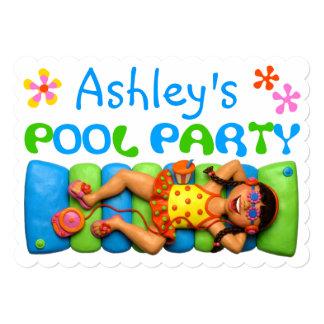 """Fiesta en la piscina fresca, el fiesta del niño invitación 5"""" x 7"""""""