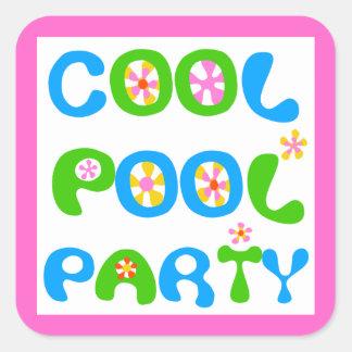 Fiesta en la piscina fresca colcomanias cuadradas personalizadas
