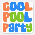 Fiesta en la piscina fresca colcomanias cuadradases