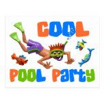 Fiesta en la piscina fresca postal