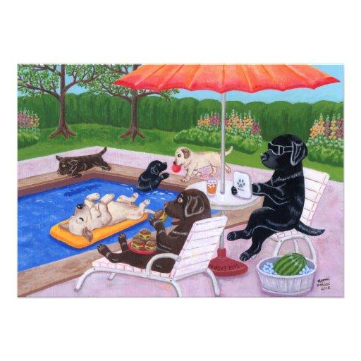 Fiesta en la piscina Labradors 2 Invitaciones Personalizada
