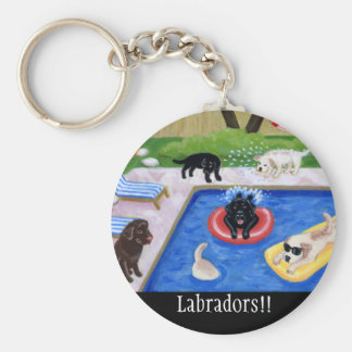 Fiesta en la piscina Labradors Llavero Redondo Tipo Pin